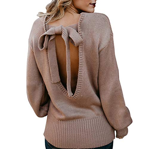 Solides Casuall Fille Femmes Nu en d'hiver Dos Vrac Sexy Tricot Pull Top Lacent en Bwv6B