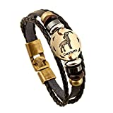 Rosemes Men Women Fashion Alloy Leather 12 Constellation Braided Rope Bracelet Capricorn