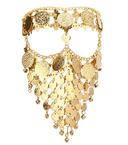 Astage Lady Cosplay Belly Dance Jewelry Coin Veil Halloween Accessories Gold Color ()