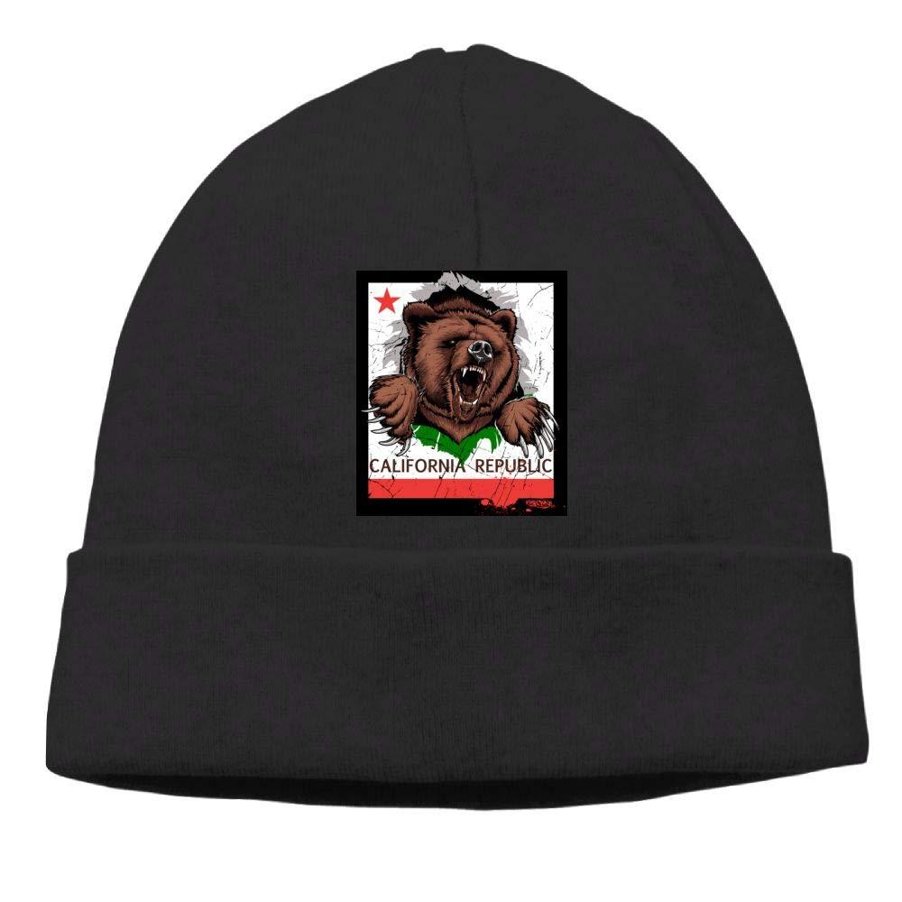 Poii Qon Funny California Bear Beanies Hat Skull Caps for Womens Mens