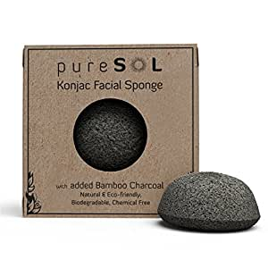 pureSOL Konjac Facial Sponge - Activated Charcoal - Gift for Valentine