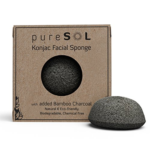 pureSOL Konjac Facial Sponge - Activated Charcoal - Great for acne