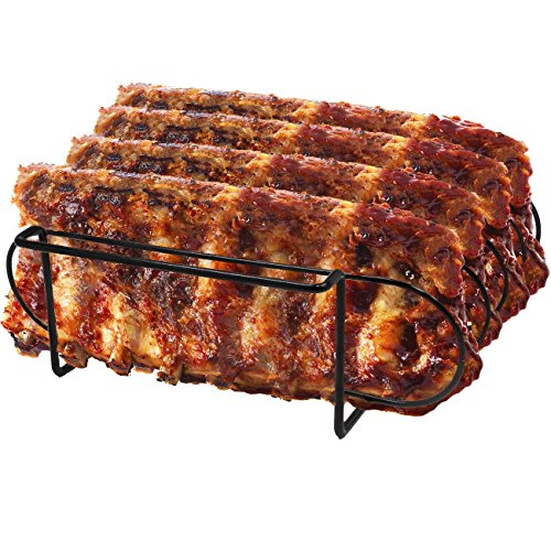 - Sorbus Non-Stick Rib Rack – Porcelain Coated Steel Roasting Stand – Holds 4 Rib Racks for Grilling & Barbecuing (Black)