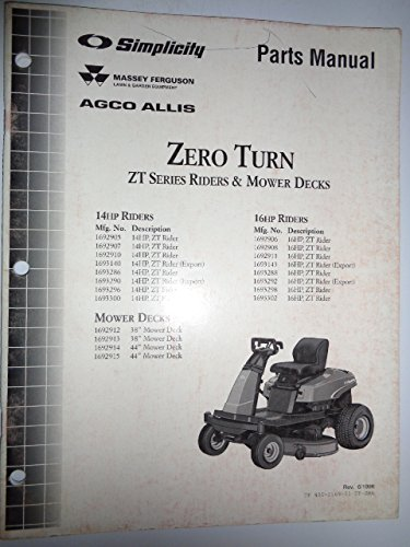 llis ZT Series Zero Turn Riders & Mower Decks (14 & 16 HP) Parts Catalog Book Manual Original TP400-2169 (Hp Parts Catalog Manual)