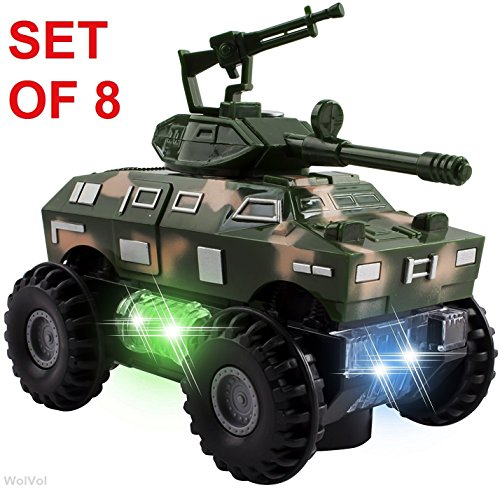 (WolVol Set of 8 Military Car Truck Toys with Lights and Sounds for Kids, Army Action with Bump & Go (Size of Each Vehicle is Approximately 5