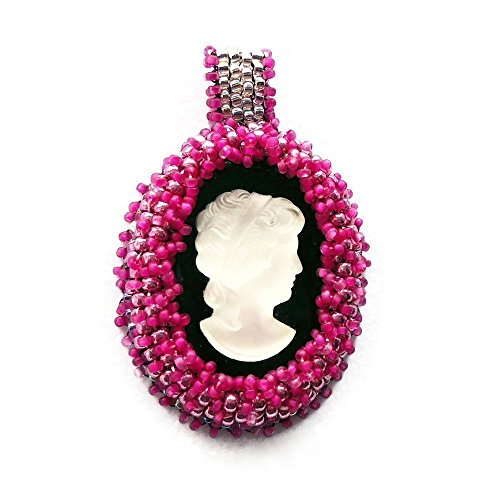 Hot Pink Beaded Cameo Slide Pendant Jewelry Necklace (Ready to - Hot Chick Glasses