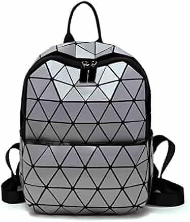 19b6fcdb9578 Hangton Women Backpack Geometric Folding Bag Small Student S School Bags  For Teenage Girls Hologram Daily Casual