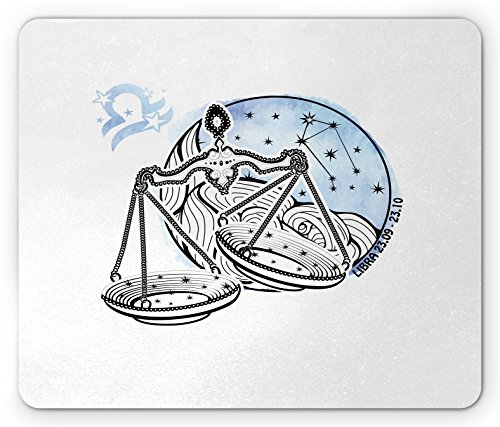 Price comparison product image Zodiac Libra Mouse Pad by Lunarable, Constellation of Stars Victorian Design Inspired Monochrome Scale, Standard Size Rectangle Non-Slip Rubber Mousepad, Pale Blue Black White