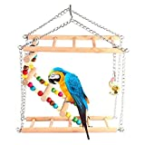 iBaste Parrot Toys Birds Swing Hanging Ladder Climbing Ladder Double-layer Staircase for Small/Medium Parrot Bird