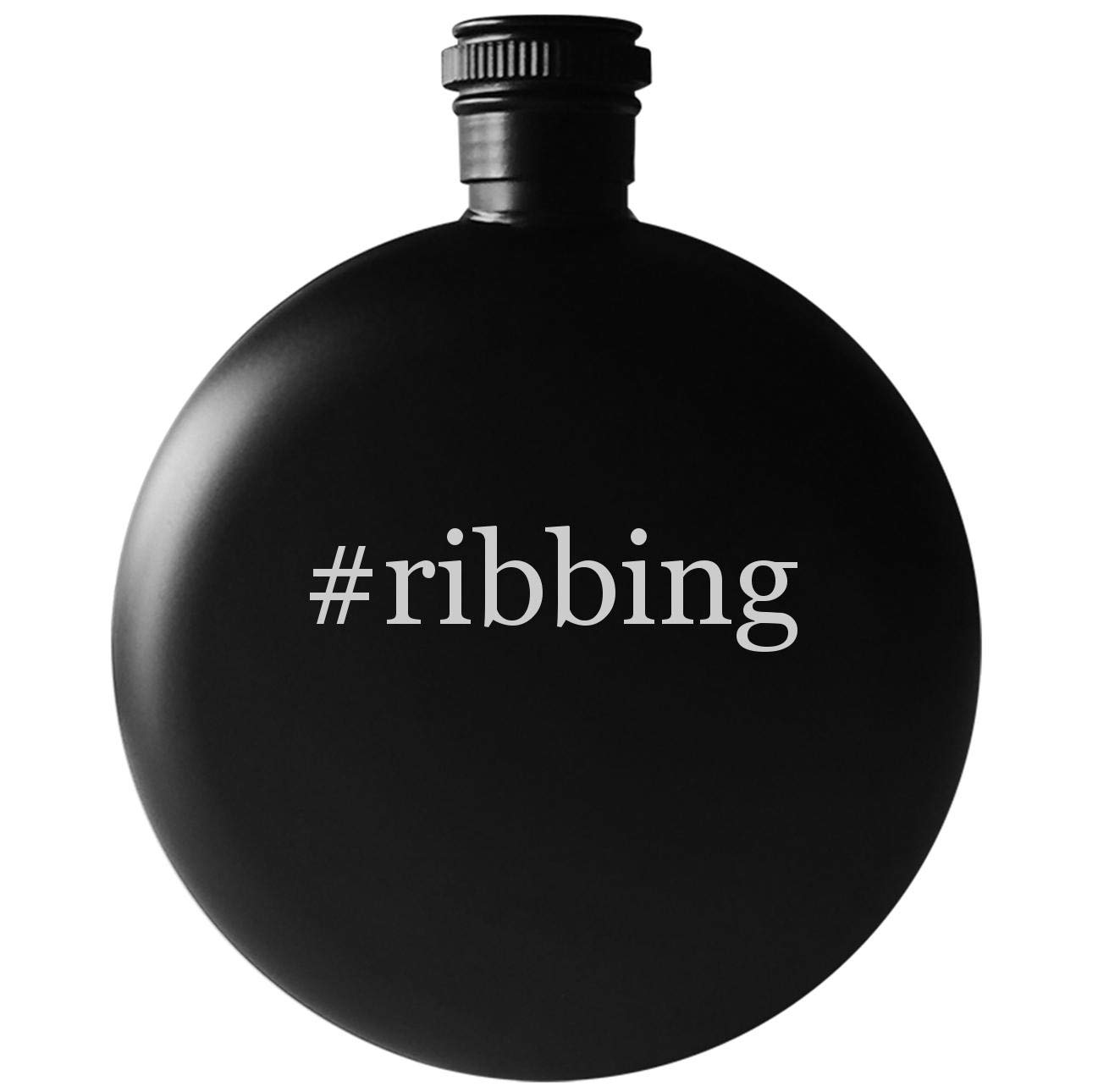 #ribbing - 5oz Round Hashtag Drinking Alcohol Flask, Matte Black