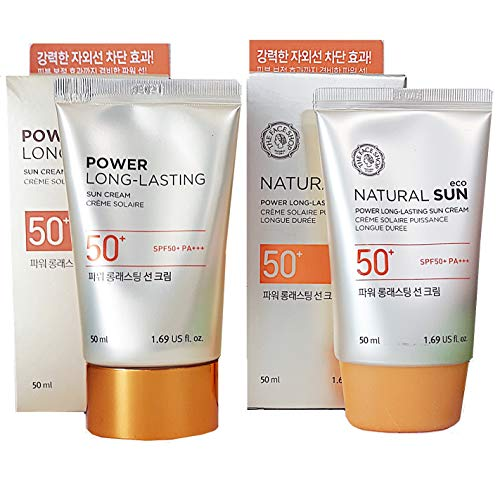 The Face Shop 1 + 1 POWER LONG-LASTING Sun Cream 50ml Sunscreen [w/VM Korea Samples]