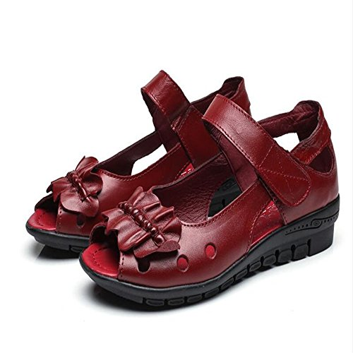 Zapatos De Mujer De Verano Suave De Fondo Plano Sandalias Mujer Rojo