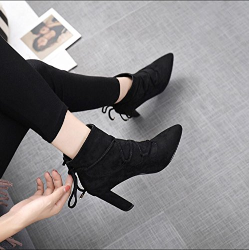 And Boots Boots Winter Short KHSKX Women High 35 Version Black Korean The Thick Tip Heeled Bare Boots Satin 8 5Cm Of Zipper The New Straps 8zHqY