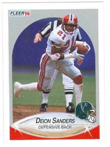 Deion Sanders Autographed Football (Deion Sanders football card 1990 Fleer #382 Atlanta Falcons Rookie Season)