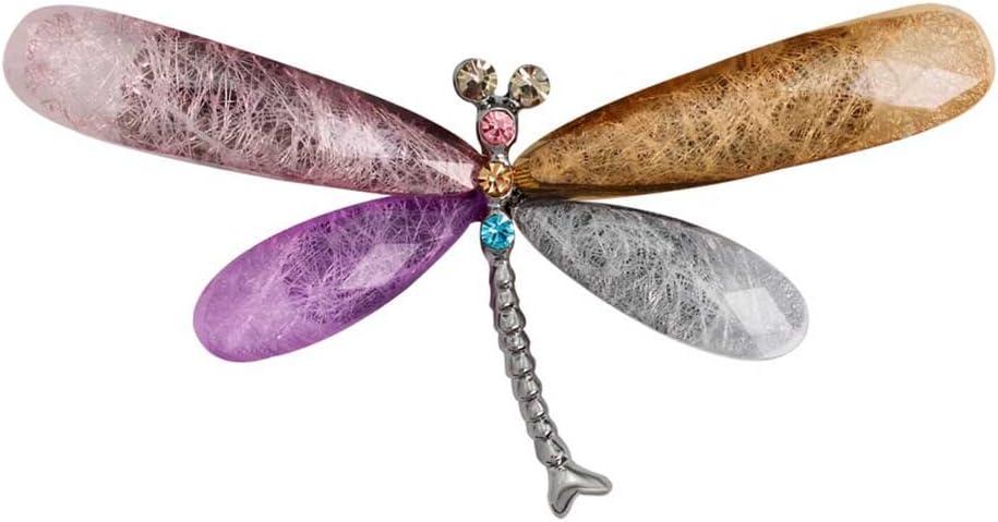 Qinlee Broche Femme Libellule Crystal Bijoux Vert /épinglette Filles Pin pour V/êtement Accessoires Fibule Broche de Alliage