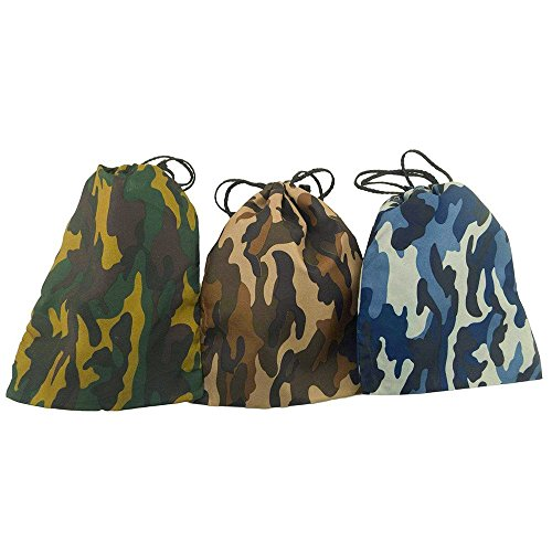 Deco4Fun 12 Pack of Camo Camouflage Polyester Drawstring Bags Loot Sack Party -