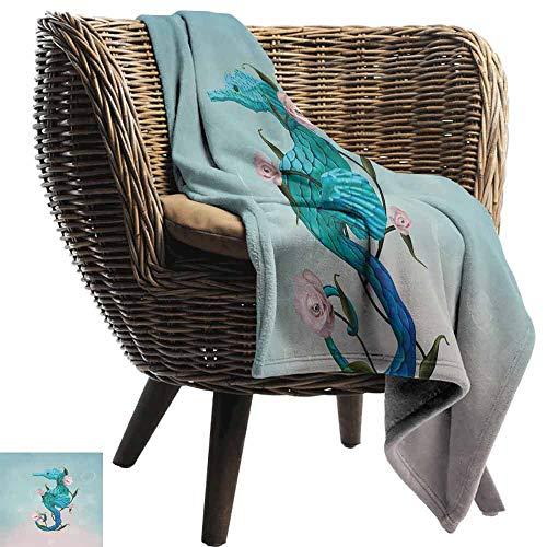 Surrealistic Camping Blanket,Seahorse with Rose Flowers Nautical Elegance Underwater Design Double-Sided Flannel Fleece Made with Plush Microfiber (60