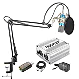 Neewer Home Studio NW-700 Blue Condenser Microphone Kit with Shock Mount,NW-35 Boom Scissor Arm Stand,48V Silver Phantom Power Supply,XLR Cable,Pop Filter and Type-A USB External Stereo Sound Adapter