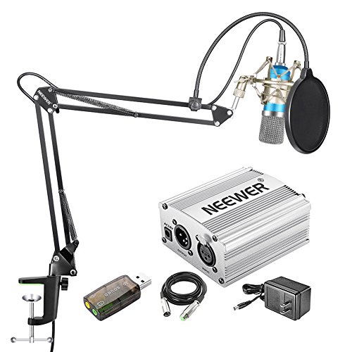 (Neewer Home Studio NW-700 Blue Condenser Microphone Kit with Shock Mount,NW-35 Boom Scissor Arm Stand,48V Silver Phantom Power Supply,XLR Cable,Pop Filter and Type-A USB External Stereo Sound Adapter)