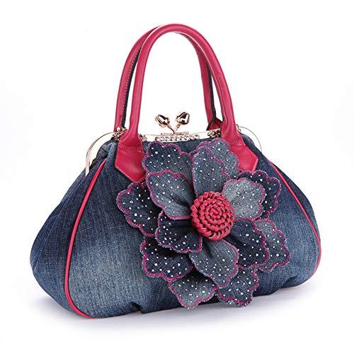 (Rhinestones Flower Womens Multiple Top Handle Purses and Handbags Satchel Tote Bag Fashional Shoulder Bags)