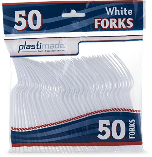 Plastimade Heavy Weight Cutlery, Disposable White Plastic Forks, Great for Every Day Use, Home, Office, Party, Picnics, or Outdoor Events, 1 Pack, 50 Forks ()