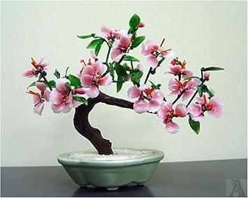 Amazon Com Pink Green Leaves Glass Bonsai Tree Table Centerpiece Furniture Decor