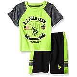 U.S. Polo Assn. Baby Boys' Sleeve T-Shirt and Mesh Short Set, Neon Green P105130N1V, 12M