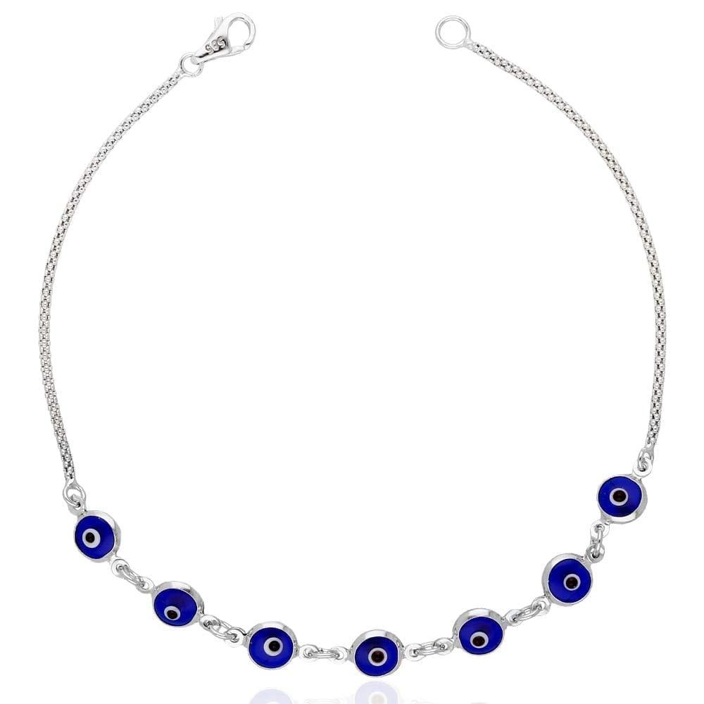 14k White Gold Bezel Evil Eye Popcorn Bracelet 7'', Blue