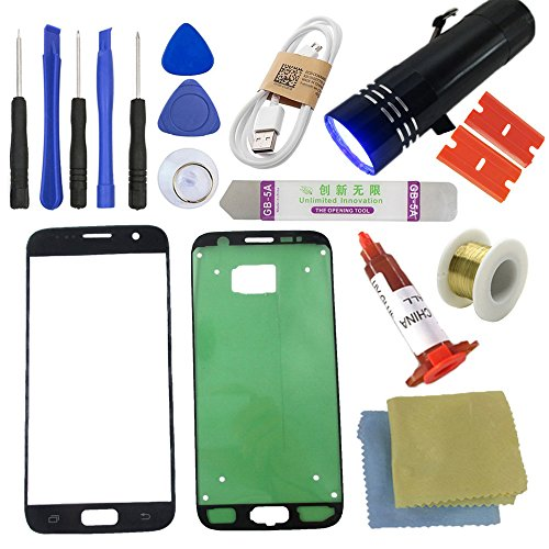 S7 Front Glass Screen Replacement Kit [Direct Screen], Sunmall Front Outer lens Glass Screen Replacement Repair Kit LCD Glass Repair Kit With UV Glue UV Torch For Samsung Galaxy S7 (Black)