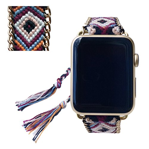 Apple Watch Band 42MM, Fashion Handmade Friendship Bracelet Replacement iWatch Strap Women Girls for Apple Watch Series 2 Series 1 All Version (Neutra…