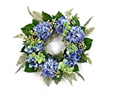 25'' Blossoming Spring and Summer Blue Hydrangeas Wreath with Greenery - Unlit