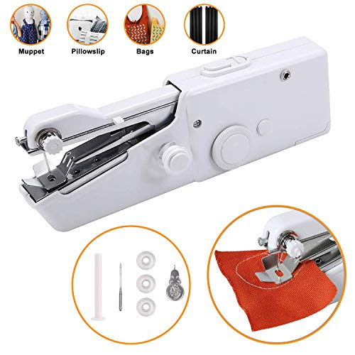 Portable Sewing Machine Handheld Mini Sewing Machine Meyuewal Cordless Craft Stitch Machine DIY Home Travel Stitching for Fabric Clothing Kids Cloth Pet Clothes (Battery Not Included)