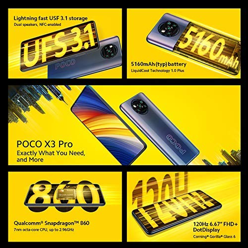 "POCO X3 Pro - Smartphone 6+128 GB, 6,67"" 120Hz FHD+DotDisplay, Snapdragon 860, Cámara Cuádruple de 48 MP, 5160mAh, Azul…"