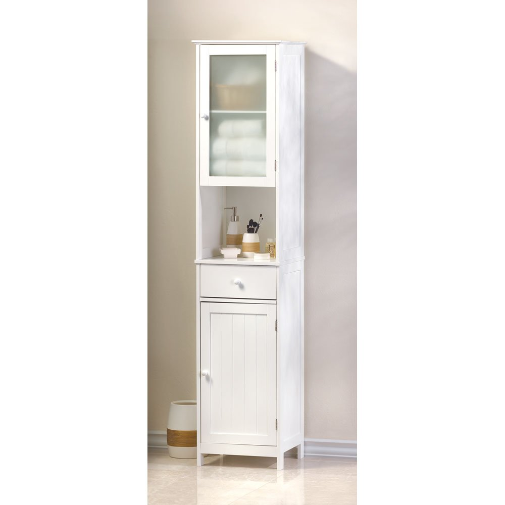 amazoncom lakeside tall storage shelving display organizing cabinet home kitchen - Bathroom Linen Cabinets