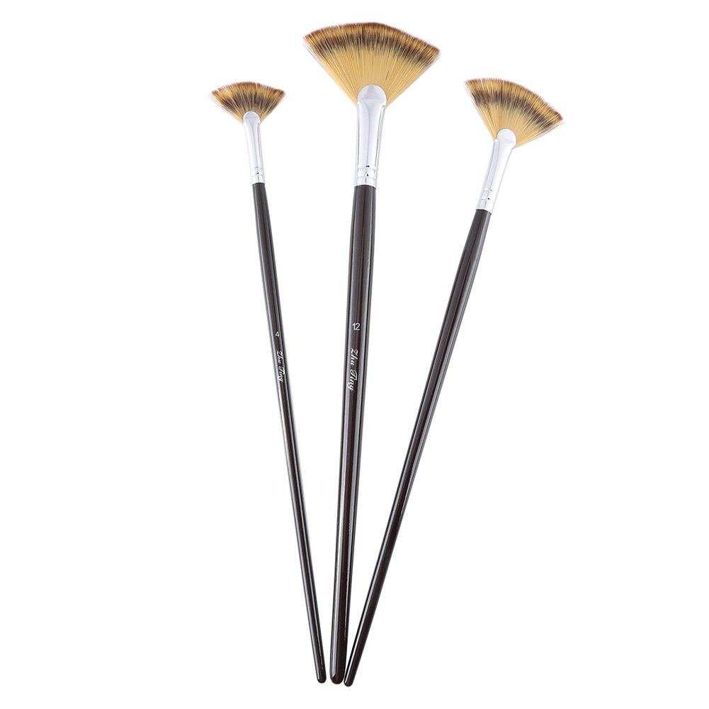 Painting Fan Brush, 3 Size Fan Brush Pen with Slim Wood Handle for Oil Painting Acrylic Watercolor Artist