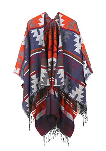 JURUAA Plus Size Pashmina Scarf Shawl Cape Wrap Crochet Poncho (Fashion Poncho)