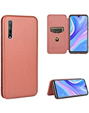 Miagon Huawei P30 Carbon Fiber Wallet Case,PU Leather Flip Magnetic Slim Phone Case with Card Holder Silicone Inner Shockproof Folio Cover for Huawei P30