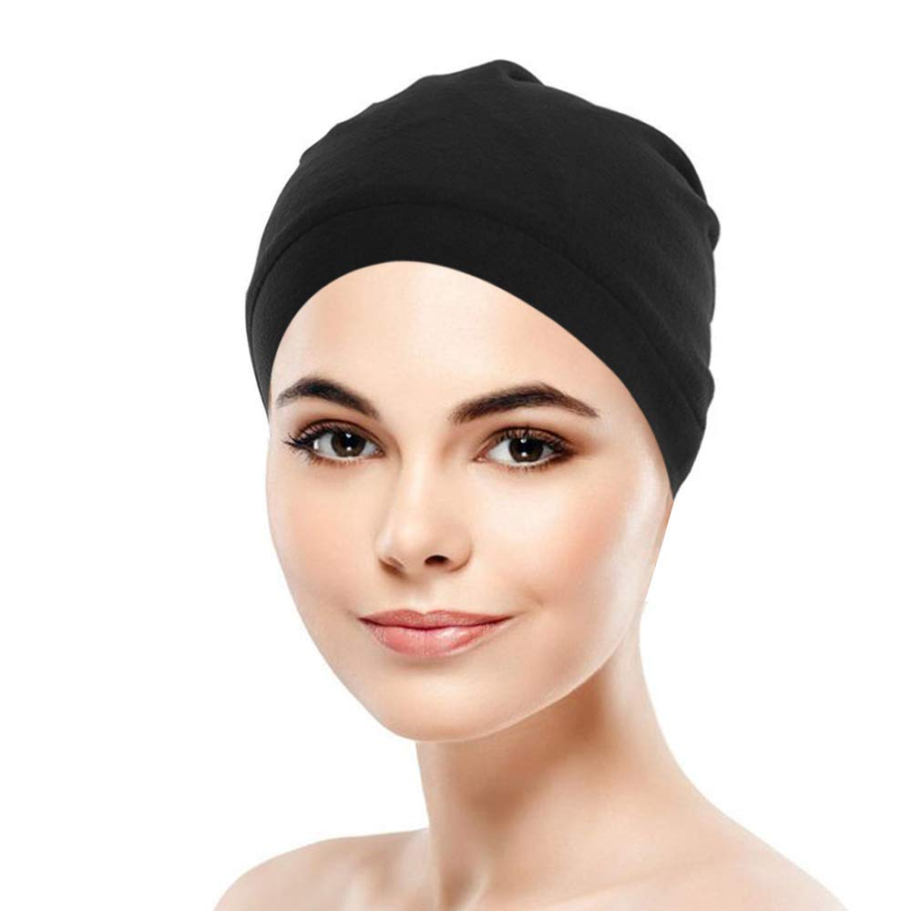 Satin Lined Night Caps for Sleeping for Women,Beanie with Cotton Outer Double Layer Bonnet for Hair Loss,Chemo Satin Hats for Women,Hair Cover & Head Cover for Sleeping,Elastic Sleep Hair Bonnets for