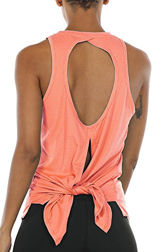 (icyzone Open Back Workout Top Shirts - Activewear Exercise Yoga Tops for Women (M,)