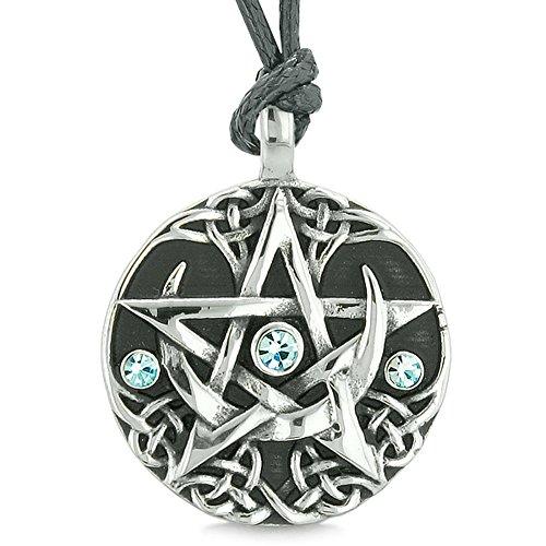 - BestAmulets Amulet Pentacle Magic Super Star Celtic Defense Blue Crystals Pentagram Pendant Adjustable Necklace