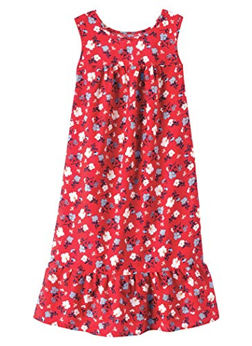 AmeriMark Womens Breezy Casual Sundress Beach Coverup Sleeveless with Side Pocket Red Floral LG (Petite Dress Patio)