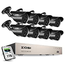 ZOSI 8 Channel Full 1080P HD-Tvi Security Camera System, 8 Channel 1080P Surveillance DVR and (8) HD 2.0MP 1080P Weatherproof Bullet CCTV Cameras, 120Ft(40M) IR Night Vision 1TB Hard Drive