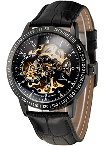Alienwork IK mechanische Automatik Armbanduhr Skelett Automatikuhr Uhr schwarz Leder 98226-17