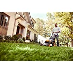 "WORX WG751 40V 19'' Cordless Lawn Mower, 2 Batteries & Charger Included, Black and Orange 11 Our 20"" 40V PowerShare mower comes with 2 rechargeable 20V 5.0Ah batteries that deliver 40V of rugged mowing power Steel makes all the difference. It lasts longer and performs better on undulating terrain. And with 20"" of it, you'll make fewer passes on your lawn Worx Power Share is compatible with all Worx 20v and 40v tools, outdoor power and lifestyle products"