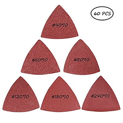 60 Pieces 3-1/8 Inch Triangle Sandpaper Sanding Pads Sheets, Assorted 40/60/80/120/180/240 Grits #50-SJSP-002