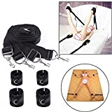 My/Toys JIUAI Under Bed Bondage Straps Extra-Strength Leg Restraint Harness Straps Kit with Handcuffs My/Toys JIUAI Ankle Cuffs Bondage Game Toy Set for Women Couples (Black)