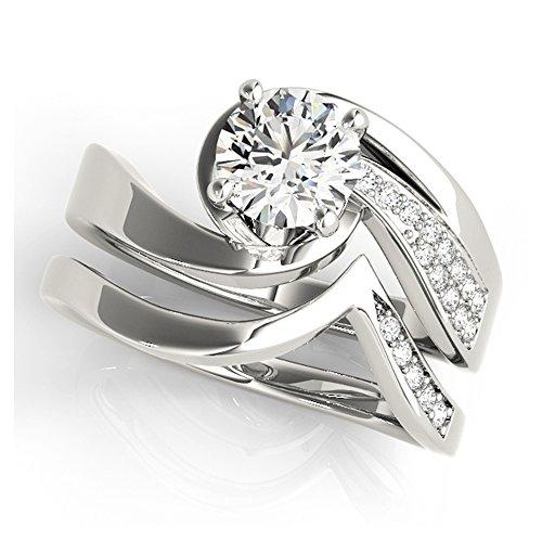 14K White Gold Unique Wedding Diamond Bridal Set Style MT51032