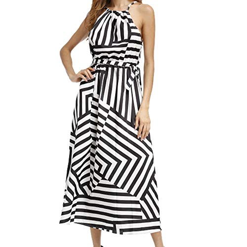 (Dressin Elegant Women Sexy Summer Boho Maxi Long Evening Party Beach Dress Sundress BK/XL)