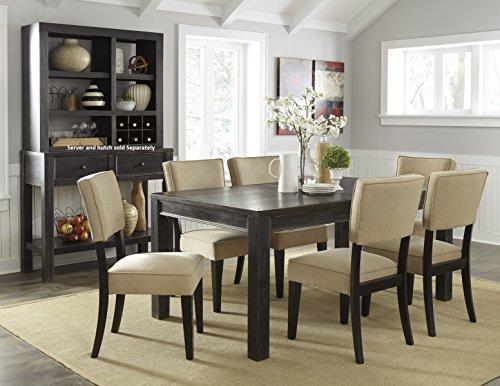 Gavellestong Vintage Casual Black Rectangular Dining Room Table w/ 6 Beige Side Chair