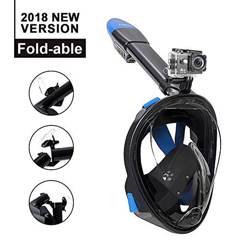 Aidong180° Full Face Snorkel Mask-Panoramic View Anti-Fog Foldable Tubeless Design.See More Underwater World Than Traditional Snorkeling Masks for Men Women Adults Kids